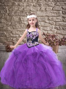 Latest Tulle Sleeveless Floor Length Pageant Gowns For Girls and Embroidery and Ruffles