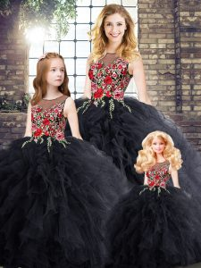 Classical Black Ball Gowns Scoop Sleeveless Floor Length Zipper Embroidery and Ruffles Quinceanera Dress
