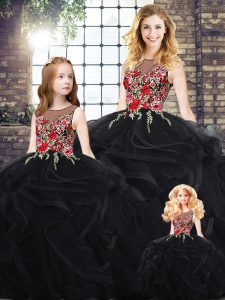 Gorgeous Scoop Sleeveless Zipper Embroidery and Ruffles Quinceanera Gowns in Black