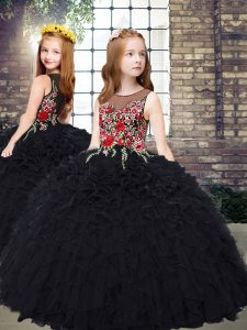 Black Scoop Zipper Embroidery and Ruffles Little Girls Pageant Dress Sleeveless