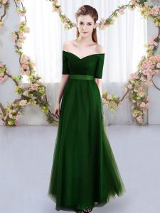 Free and Easy Green Lace Up Quinceanera Court Dresses Ruching Short Sleeves Floor Length
