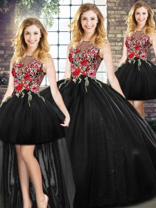 Captivating Black Scoop Zipper Embroidery Sweet 16 Dress Sleeveless