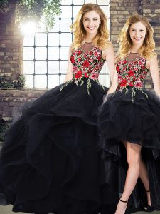 Floor Length Black Sweet 16 Quinceanera Dress Bateau Sleeveless Lace Up