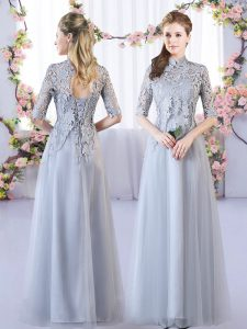 Grey Half Sleeves Lace Floor Length Dama Dress for Quinceanera