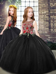Scoop Sleeveless Little Girls Pageant Gowns Floor Length Embroidery Black Tulle
