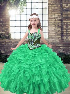 Green Organza Lace Up Straps Sleeveless Floor Length Kids Formal Wear Embroidery and Ruffles