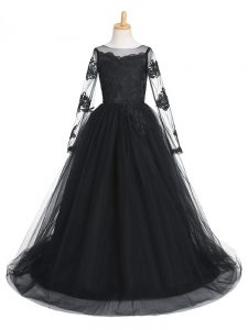 Black Scoop Neckline Lace Pageant Gowns Long Sleeves Clasp Handle