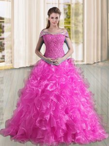 Organza Sleeveless Ball Gown Prom Dress Sweep Train and Beading and Lace and Ruffles