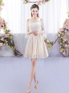 Dazzling Champagne Lace Up Straps Sleeveless Mini Length Quinceanera Dama Dress Lace