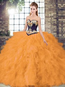 Organza Sweetheart Sleeveless Lace Up Beading and Embroidery 15th Birthday Dress in Orange