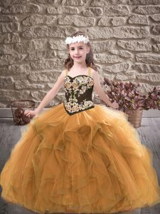 High End Gold Lace Up Kids Formal Wear Embroidery and Ruffles Sleeveless Floor Length