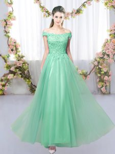 Apple Green Tulle Lace Up Off The Shoulder Sleeveless Floor Length Quinceanera Court of Honor Dress Lace