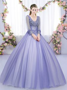 Long Sleeves Tulle Floor Length Lace Up Sweet 16 Dresses in Lavender with Lace and Appliques