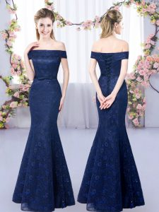 Off The Shoulder Sleeveless Lace Up Dama Dress for Quinceanera Navy Blue