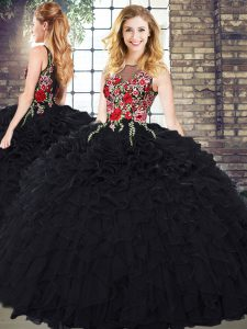 Inexpensive Organza Scoop Sleeveless Zipper Embroidery and Ruffles Sweet 16 Dress in Black