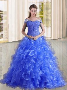 Beading and Lace and Ruffles 15 Quinceanera Dress Blue Lace Up Sleeveless Sweep Train