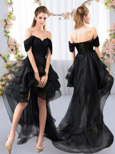 Low Price Lace and Ruffled Layers Vestidos de Damas Black Lace Up Short Sleeves High Low