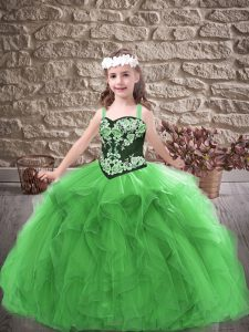 Perfect Green Sleeveless Tulle Lace Up Kids Pageant Dress for Party and Wedding Party