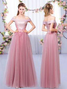 Traditional Pink Sleeveless Floor Length Appliques Lace Up Vestidos de Damas