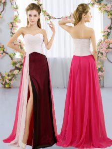 New Arrival Multi-color Zipper Sweetheart Ruching Quinceanera Court of Honor Dress Chiffon Sleeveless