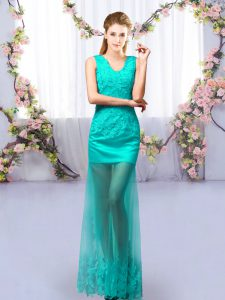 Turquoise Sleeveless Lace Floor Length Quinceanera Court Dresses