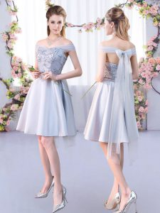 Dramatic Silver A-line Off The Shoulder Sleeveless Satin Knee Length Lace Up Lace Quinceanera Court of Honor Dress