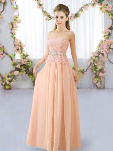 Great Peach Strapless Neckline Lace and Belt Quinceanera Dama Dress Sleeveless Lace Up