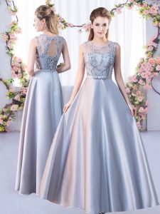 Satin Scoop Sleeveless Lace Up Lace Court Dresses for Sweet 16 in Silver