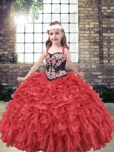 Most Popular Red Organza Lace Up Little Girls Pageant Dress Sleeveless Floor Length Embroidery and Ruffles