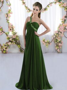 Stylish One Shoulder Sleeveless Brush Train Lace Up Quinceanera Court of Honor Dress Olive Green Chiffon