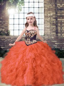 Most Popular Floor Length Orange Red Pageant Dresses Straps Sleeveless Lace Up