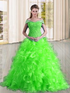 Off The Shoulder Sleeveless Organza 15th Birthday Dress Beading and Lace and Ruffles Sweep Train Lace Up