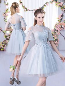 Designer Grey Quinceanera Dama Dress Prom and Party and Wedding Party with Lace High-neck Short Sleeves Lace Up