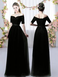 Glamorous Black Damas Dress Prom and Party and Wedding Party with Ruching Off The Shoulder Short Sleeves Lace Up