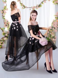 Graceful Black Short Sleeves Tulle Court Dresses for Sweet 16 for Prom and Party and Wedding Party
