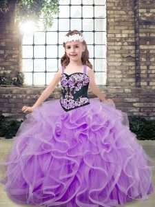 Luxurious Lavender Lace Up Straps Embroidery and Ruffles Little Girl Pageant Gowns Tulle Sleeveless