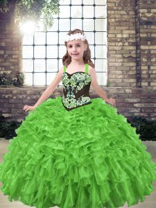 Floor Length Lace Up Child Pageant Dress for Party and Wedding Party with Embroidery and Ruffles