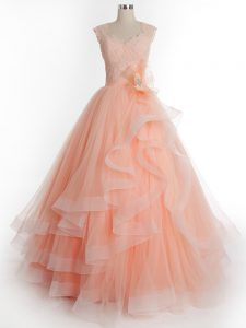 Delicate Peach A-line Ruffles Quinceanera Gown Lace Up Tulle Sleeveless Floor Length