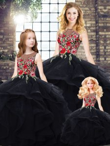 Edgy Sleeveless Tulle Floor Length Lace Up Quinceanera Dresses in Black with Beading and Embroidery