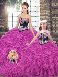 High Quality Fuchsia 15th Birthday Dress Military Ball and Sweet 16 and Quinceanera with Embroidery and Ruffles Sweetheart Sleeveless Lace Up