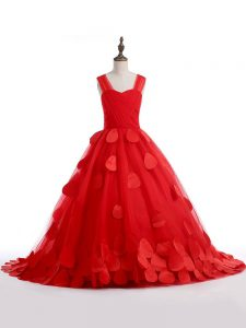 Red Sleeveless Tulle Brush Train Lace Up Kids Formal Wear for Wedding Party