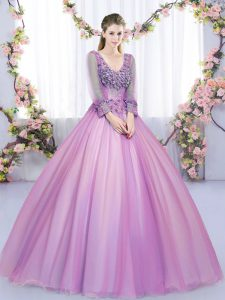 V-neck Long Sleeves Quinceanera Dresses Floor Length Lace and Appliques Lilac Tulle