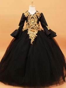 Black V-neck Beading and Appliques Glitz Pageant Dress Tulle Long Sleeves