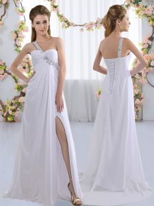Smart Brush Train Empire Court Dresses for Sweet 16 White One Shoulder Chiffon Sleeveless Lace Up