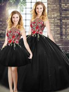 Attractive Ball Gowns Ball Gown Prom Dress Black Scoop Tulle Sleeveless Floor Length Zipper