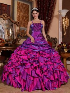 Spaghetti Straps Ruffles Appliques Colorful Sweet 15 Dresses in Aguada