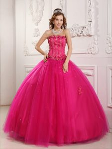 Traditional Ball Gown Hot Pink Beaded Sweet Sixteen Dresses