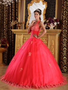 Free Shipping Halter Top Coral Red Appliqued Quinceanera Dress