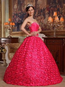 Embossed Fabric Hot Pink Appliqued Dresses for Sweet 16