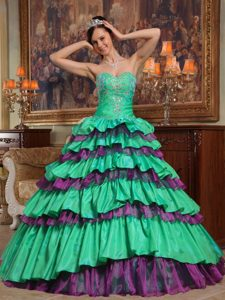 Colorful Sweetheart Beaded Dress for Quince with Ruffled Layers